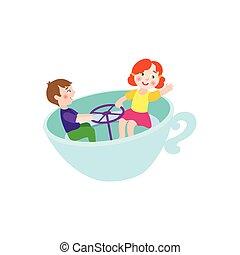 plat, tasse, garçon, parc, vecteur, girl, chaise, amusement