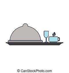 plat, tasses, dôme, planche