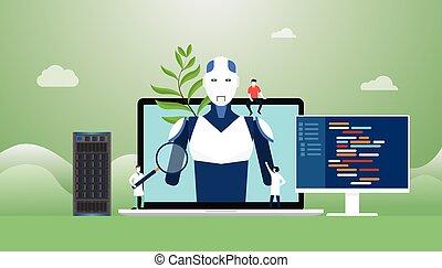 plat, technologie, artificiel, ai, robot, vecteur, programmation, développement, construction, concept, style, intelligence, -, moderne, langue