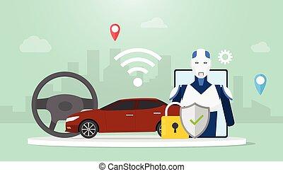 plat, technologie, robot, icône, voiture, soi, wifi, vecteur, autonome, concept, style, conduire, -, voitures, moderne, conduite