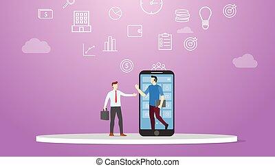 plat, technologie, service, vecteur, concept, style, aide, -, moderne, ligne