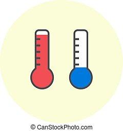 plat, température, simple, symbole, icons., chaud, thermomètre, froid