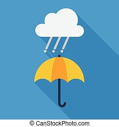 plat, temps pluvieux, parapluie, icon.