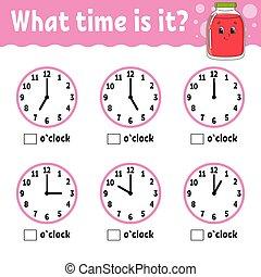 plat, temps, vecteur, children., couleur, mignon, ...