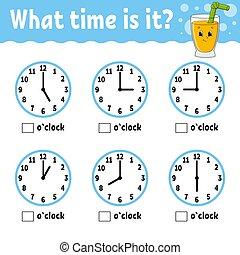 plat, temps, vecteur, juice., children., couleur, mignon, ...