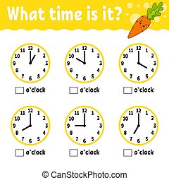 plat, temps, vecteur, légume, children., couleur, mignon, ...