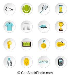 plat, tennis, ensemble, icônes