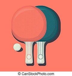 plat, tennis, ping, deux, raquettes, day., équipement, vecteur, illustration, table, pong, sport, ball.