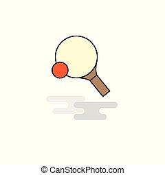 plat, tennis, vecteur, raquette, table, icon.
