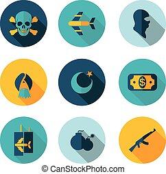 plat, terrorisme, icônes