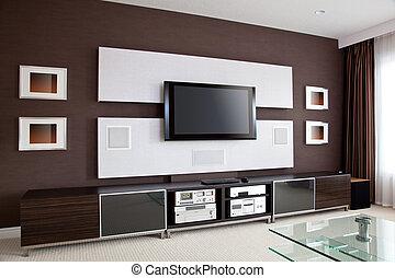 plat, théâtre, salle, écran tv, moderne, intérieur, maison