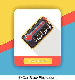 plat, thermomètre, température, icône