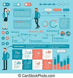 plat, tijd, vector, ontwerp, mal, infographics, lijn