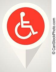 plat, toile, fauteuil roulant, moderne, eps, vecteur, conception, icon., indicateur, bouton, rouges, 10