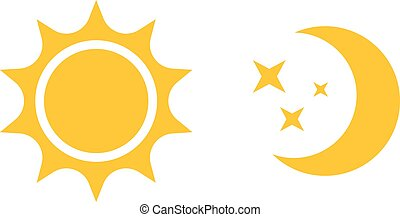 plat, toile, mobile, soleil, lune, vecteur, infographics, logo, icon., conception