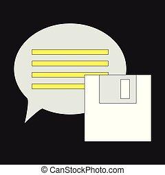 plat, toile, simple, texte, app, moderne, symbole., illustration, site, mobile, vecteur, parole, icône, message, bulle, ou