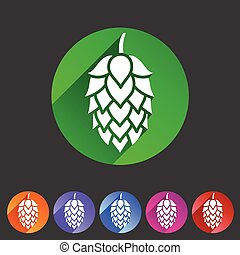plat, toile, symbole, signe, bière, houblon, logo, étiquette, icône