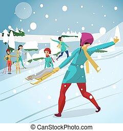 plat, toneelstuk, vrouw, jonge, illustratie, spotprent, vector, sneeuwballen, skien, sledging., heuvel