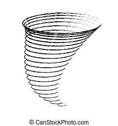 plat, tornades, linéaire, illustration, vecteur, cyclone,...