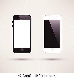 plat, touchscreen, noir, blanc, smartphone., design.