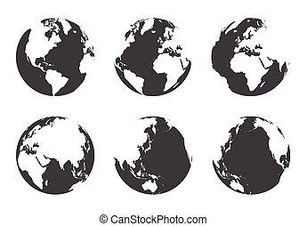 plat, tout, autour de, conception, mondiale, côté