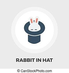 plat, tovenaar, hoedje, konijn, pictogram