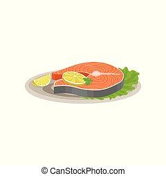 plat, tranches citron, fish, céramique, saumon, plaque., salade verte, vecteur, savoureux, dîner., délicieux, frais, plat, feuille, vacances, icône