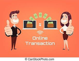 plat, transactie, zakenlui, betaling, concept., tussen, vrijstaand, illustratie, laptop., vector, online, apparaat, vervaardiging, spotprent, pictogram