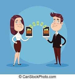 plat, transactie, zakenlui, betaling, concept., tussen, vrijstaand, illustratie, twee, vector, online, apparaat, vervaardiging, spotprent, smartphone., pictogram