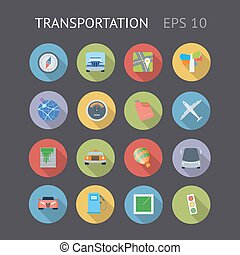 plat, transport, icônes