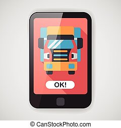 plat, transport, ombre, long, camion, icône