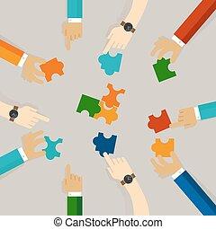 plat, travail, business, essayer, puzzle, puzzle, illustration, morceaux, synergie, concept, résoudre, ensemble., tenue, équipe, problème, main