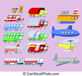 plat, travers, ensemble, transport, icône
