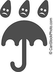 plat, triste, parapluie, pluie, icône