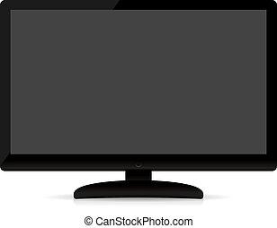 plat, tv scherm, moderne, isoleren, leeg
