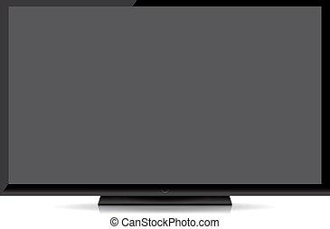 plat, tv scherm, moderne, vrijstaand, achtergrond, leeg, witte