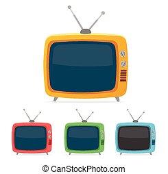 plat, tv, set., vecteur, conception, retro