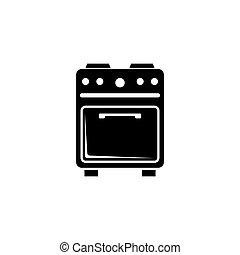 plat, ui, cooker., symbool, keuken, meldingsbord, vector, ...