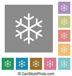 plat, unique, carrée, flocon de neige, icônes