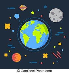 plat, univers, illustration, lune, débuts, espace, système, vecteur, conception, solaire, la terre, dessin animé