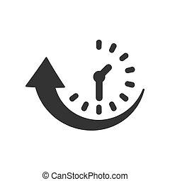 plat, uptime, zakelijk, klok, concept., vrijstaand,...