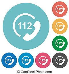 plat, urgence, icônes, appeler, 112, rond