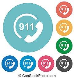 plat, urgence, icônes, appeler 911, rond
