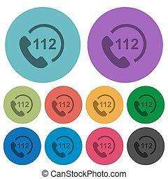 plat, urgence, icônes, couleur, appeler, 112, plus sombre