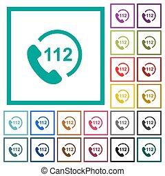 plat, urgence, icônes, couleur, quadrant, appeler, 112, cadres