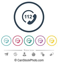 plat, urgence, icônes, couleur, rond, appeler, 112, grands traits