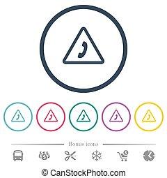 plat, urgence, icônes, couleur, rond, appeler, grands traits
