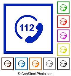 plat, urgence, icônes, encadré, appeler, 112