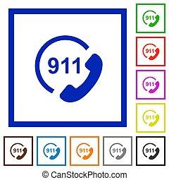 plat, urgence, icônes, encadré, appeler 911
