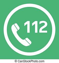 plat, urgence, toile, bouton, eps10., nombre, vecteur, conception, 112, appeler, icon.